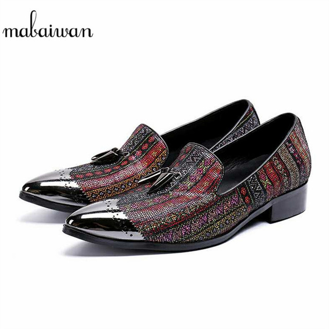 Mabaiwan Casual Men Shoes Mixed Colors Leather Indian Wedding Dress Shoes  Men Slip On Handmade Banquet Loafers Party Flat 38-46 00ae55139738