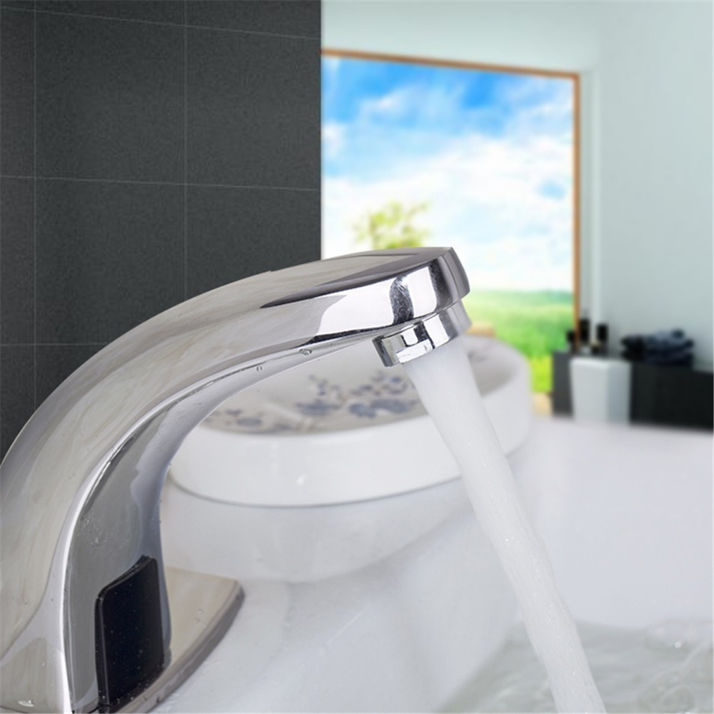 Fashion Style Brass Chrome Finish Automatic Sensor Basin Faucet Bathroom Vanity Sink Tap One Hole Excellent Basin Faucet