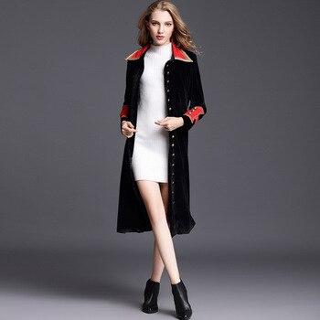Black Velvet Trench Coat for Women Autumn Fashion Womens Windbreakers Slim Belt Long Coat Female Cloak Overcoat Women's Clothing