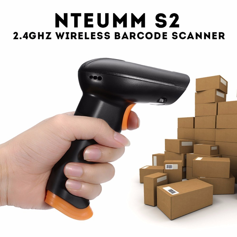NTEUMM S2 2.4GHz Wireless Wifi Cordless Barcode Scanner 120 Scans/S Store 5000 Barcodes with 500mAh Li Battery+USB Cable