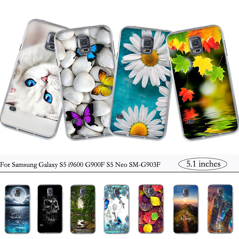 For Coque Samsung S5 Case Cover Silicone Case for Samsung Galaxy S5 i9600 G900F S5 Neo SM-G903F Cover Soft TPU Back Printing Bag(China)