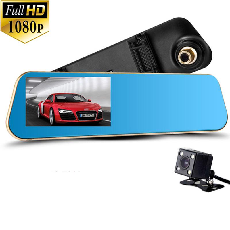 Prix pour 2017 Date Voiture Caméra Voiture Dvr Bleu Examen Miroir Numérique Vidéo Enregistreur Navigateur Auto Registrator Caméscope Full HD 1080 P dvr