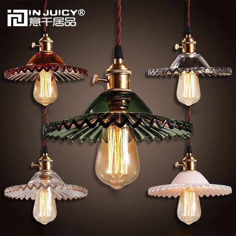 Vintage Retro Glass Pendant Lights Shades Antique Lotus Copper Pendant Lamps Fixtures Cafe Bar Living Dining Rooms Droplights