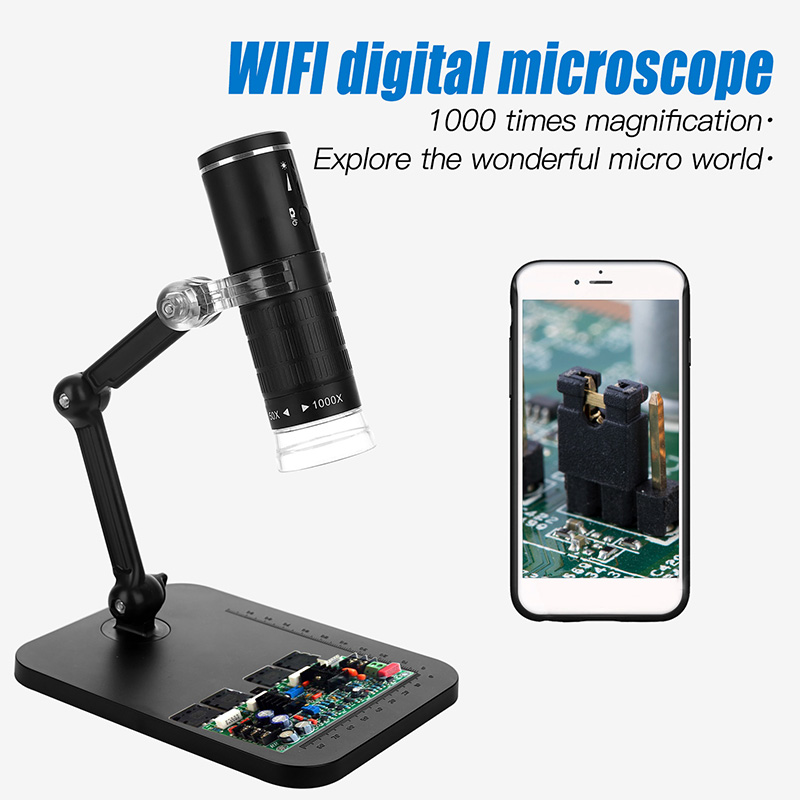 Stand Microscope Endoscope Magnifier 175*130*53mm 1920*1080 Equipment Accessory Tool 8LED WiFi Connection Lift