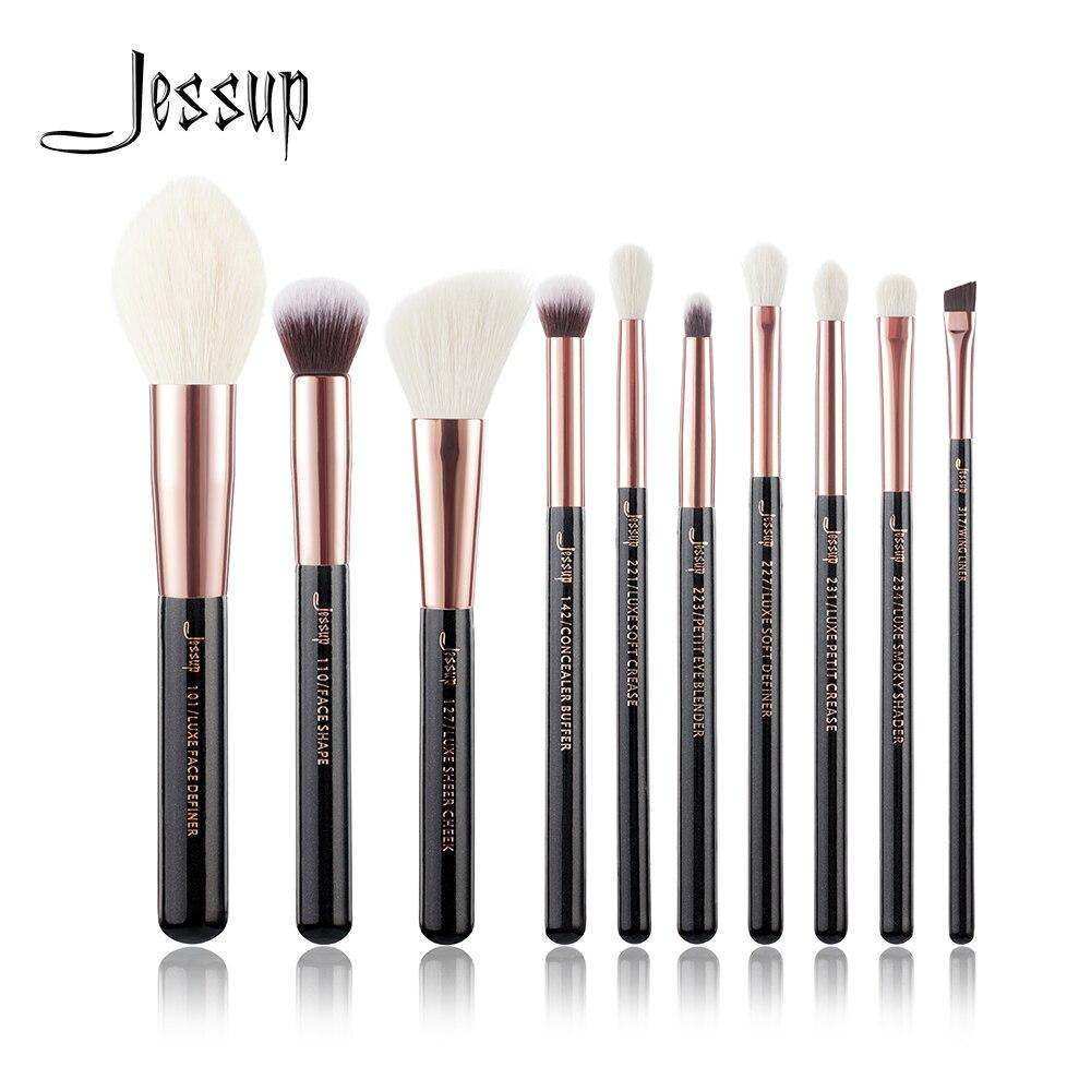 jessup conjunto preto rosa de ouro profissional pinceis maquiagem conjunto beleza ferramenta compoem escova fundacao po