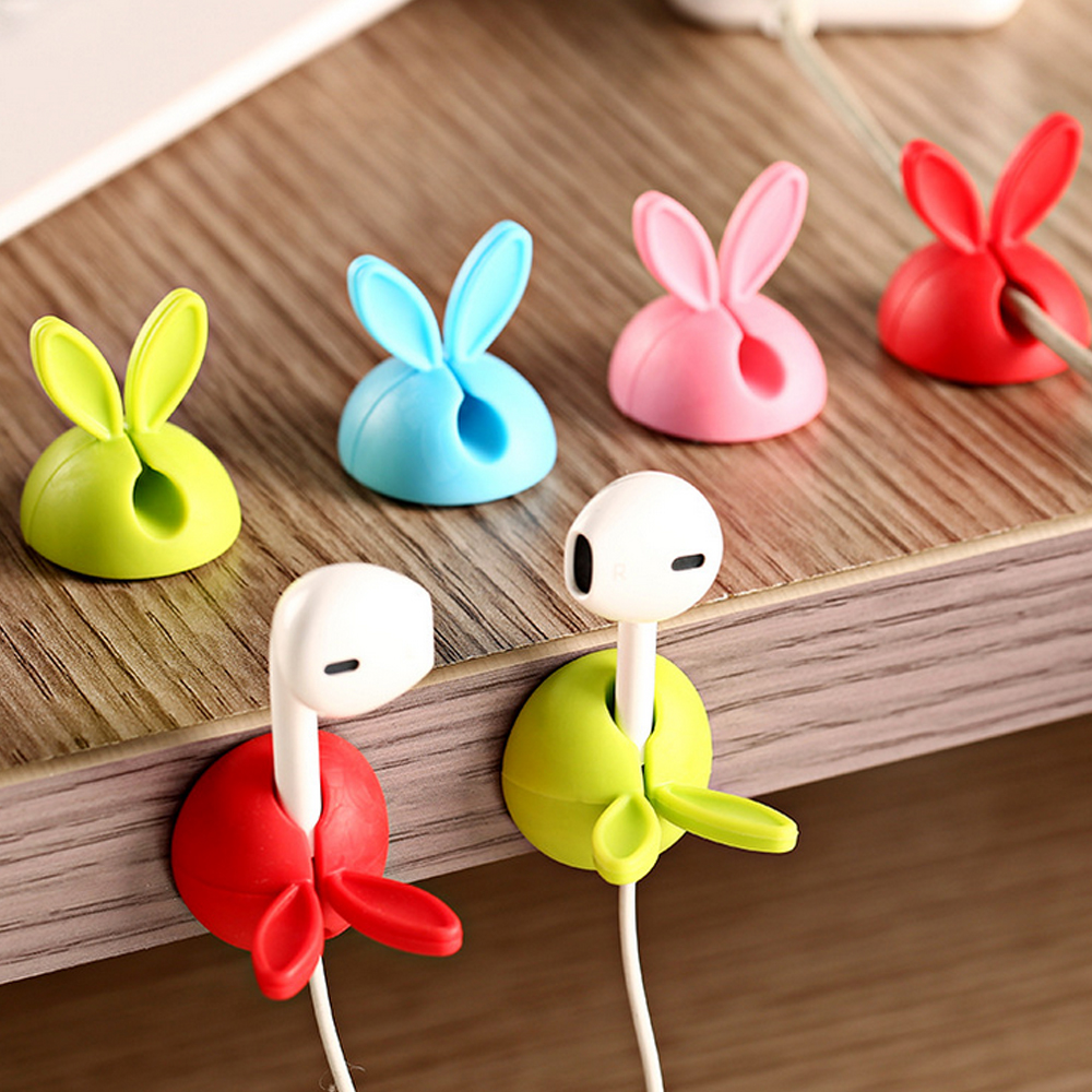 Behogar 4pcs Rabbit Ear Silicone Desktop Desk font b Winder b font font b Cable b