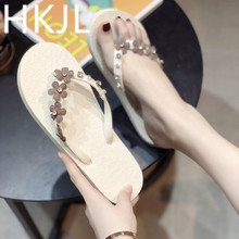 HKJL Flip-flop female beach flat with drag fashion wear pinch slippers rhinestone flower pattern summer A477