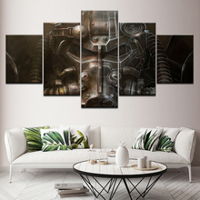5 panel fallout power armor helmet Poster wood Frame Gallery wrap art print living room home wall decor Modular picture Artwork