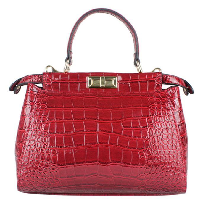 ФОТО Fashion Alligator Women Handbag Genuine Leather Bag Fashion Women Bag Solid Shoulder Bag Hot Sale Bolsas Women  Messenger Bags