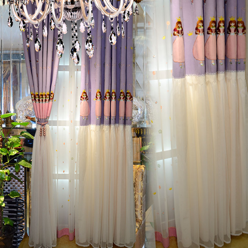 Princess Curtain Children Cartoon Pink Bedroom Curtains For Living Room Lace Fabric Girl Purple