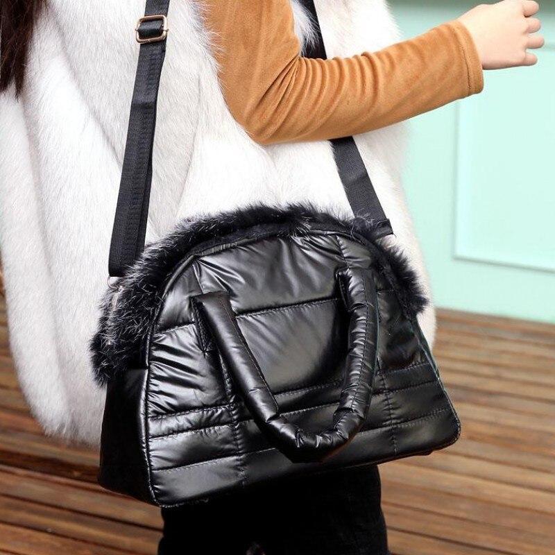 Bolsas de Grife de Luxo Bolsas de Pele de Coelho Espaço de Algodão Bolsas de Ombro para Mulheres Novas Mulheres Novo Inverno Acolchoado Bolsa Macio 2020