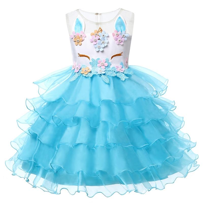 HTB1Y3gQBIuYBuNkSmRyq6AA3pXaK New Girls Dress 3Pcs Kids Dresses For Girl Unicorn Party Dress Christmas Carnival Costume Child Princess Dress 3 5 6 8 9 10 Year