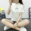 harajuku 2016 knitting In the collar Bottoming shirt Split ends Slim tops exo t shirt women blusa totoro unicorn crop kawaii