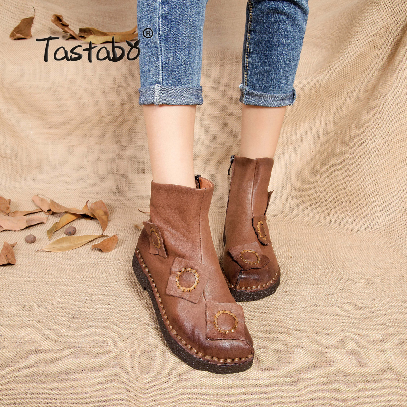 Tastabo autumn winter ankle boots for women handmade Flat with Boots Leather Shoes Retro Boots snow botines mujer Women tastabo handmade ankle boots martin flat boots 100% real genuine leather shoes retro winter snow boots botines mujer women shoe