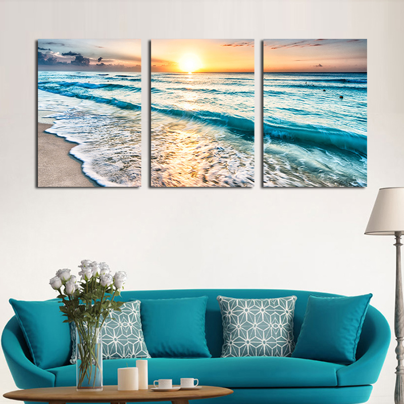 Seascape Sunset Triptych Wall Art 3 Piece Sea Waves Photography Frameless  Painting Set Prints Canvas Art Home Decors Not Framed In Painting U0026  Calligraphy ...