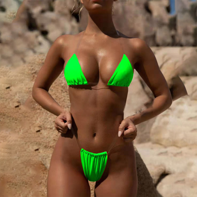Neon Green Bikini Thong Biquini High Cut Transparent Swimwear Female Swim Sexy Push Up Swimsuit Women Bathing Suit Micro Bikini