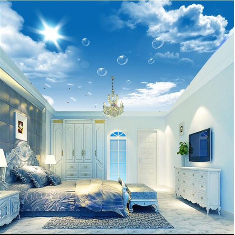 Beibehang custom mural hd blue sky white clouds dandelion for Ceiling mural wallpaper