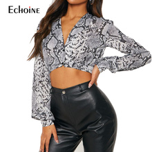 2019 New Spring summer Women Snake Skin Chiffon Blouse Sexy V Neck Casual Lantern Long Sleeve Crop Top Animal Print Shirt Femme