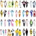 Pikachu Stitch Tiger Animal Pajamas Sleepwear Unisex Flannel Hoodie Pajama Sets Cute Cartoon Homewear Winter Pyjama Adult Child