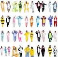 Pikachu Stitch Tiger Animal Pijamas ropa de Dormir De Franela Unisex Con Capucha Pijama de Dibujos Animados Lindo Homewear Pijama de Invierno Hijo Adulto