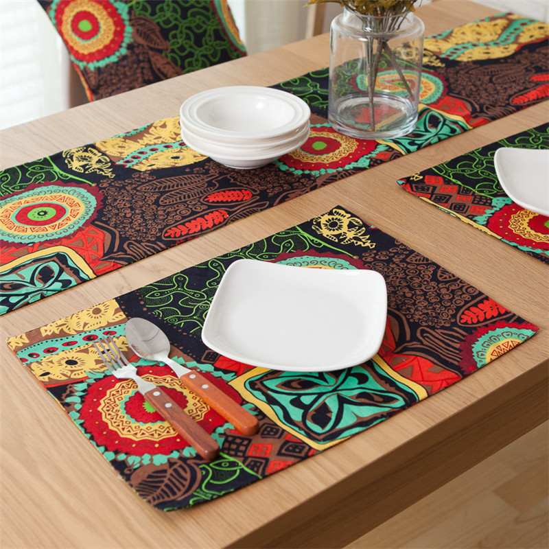 Vintage National Table Runner Print Flag Modern Thick Tea Cover Tablecloth for Banquet Wedding Party Home Decoration