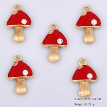 10pcs Korean version red enamel mushroom charms alloy bracelet pendant handmade earring jewelry making accessories DIY material(China)