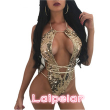 2018 Halter Lace Up Gold Sequin Sexy Bodysuit Women Overalls Clubwear Bodycon Romper Backless Hollow Out Bandage Jumpsuit D35I-4 gold sequin metallic bubble ruffle romper headband metallic gold birthday outfit gold sequin halter tie romper