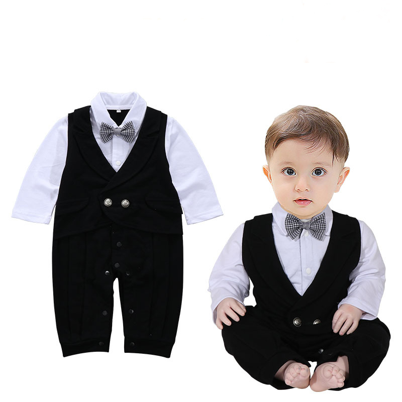 Baby jeans spring and autumn new dress long sleeves boys jeans gentleman fake two pieces of baby conjoined clothing textiles and dress of gujarat