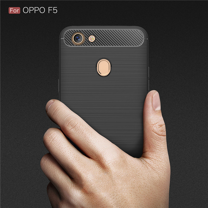 DOITOP Shockproof Phone Cover Carbon Fibre Soft TPU Case For OPPO F5 Luxury Ultra Thin Back Cover For OPPO F5 Protective Shell