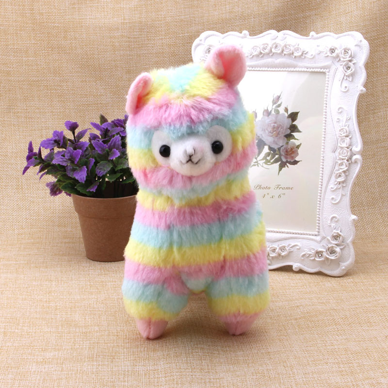 1Pc Stylish Lovely Rainbow Alpaca Plush Toy Baby Stuffed Soft Plush Doll Gift 17cm