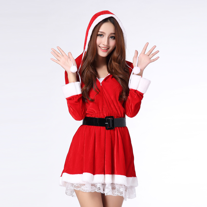 Free shipping,adult women girl sexy  pleuche velvet Christmas dress costume ,red Christmas party costume