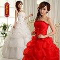 Ceia mais barato 2017 parte superior do tubo do vintage vestido de noiva plus size vestido de noiva princesa bandagem
