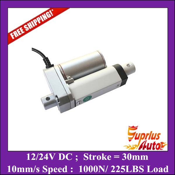 Free Shipping 12v dc 30mm stroke mini linear actuator with max load 1000N/225LBS heavy duty electric linear actuators water proof 12v 24v 150mm adjustable stroke 1500n 330lbs load 6mm s speed heavy duty linear actuator la10db free shipping