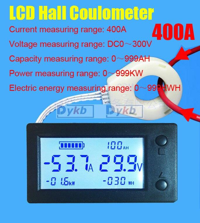 DC 300 V 50A 100A 200A 400A Monitor de batería voltímetro digital amperímetro capacidad de la batería coulometer de vatios-hora + sensor Hall