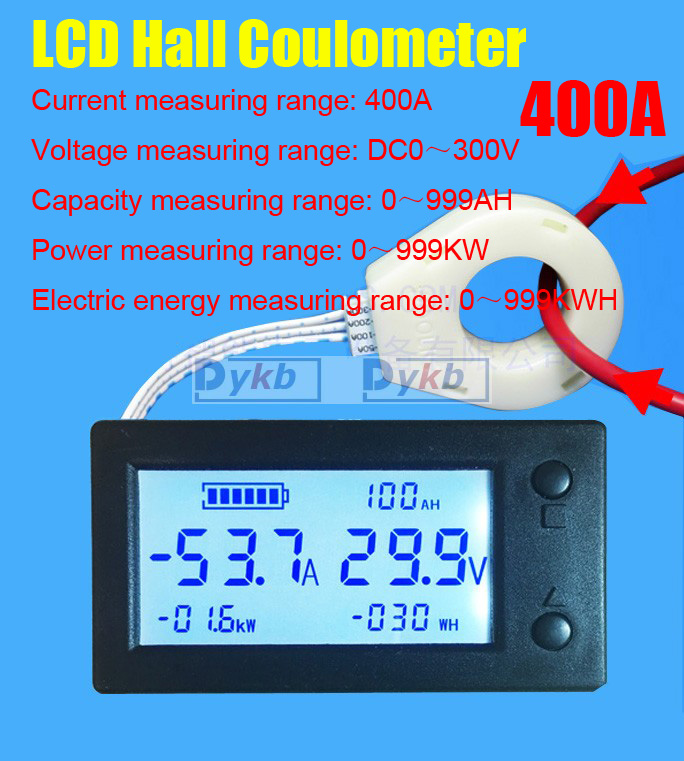 DC 300V 50A 100A 200A 400A Battery Monitor Digital Volt Meter Ammeter Battery Capacity Coulometer Power Watt-hour + Hall Sensor