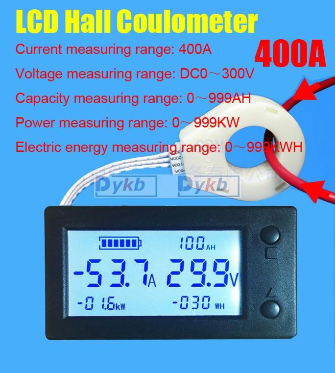 Цифровой вольтметр, амперметр с аккумулятором, измеритель емкости батареи, кулометр, мощность ватт-час + Датчик Холла, постоянный ток 300 В 50A ...