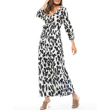 Leopard print women long dress Sexy v-neck high waist ladies summer dress Elegant lantern sleeve sashes female dress цены