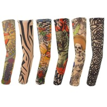 6pcs mix Free shipping elastic Fake temporary tattoo sleeve 3D art designs body Arm leg stockings tatoo cool men-women 2017 new