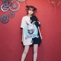 Ayumi Girls Short Sleeve Long T Shirt Fashion Hip Hop Harajuku Skeleton Print T Shirts Japan
