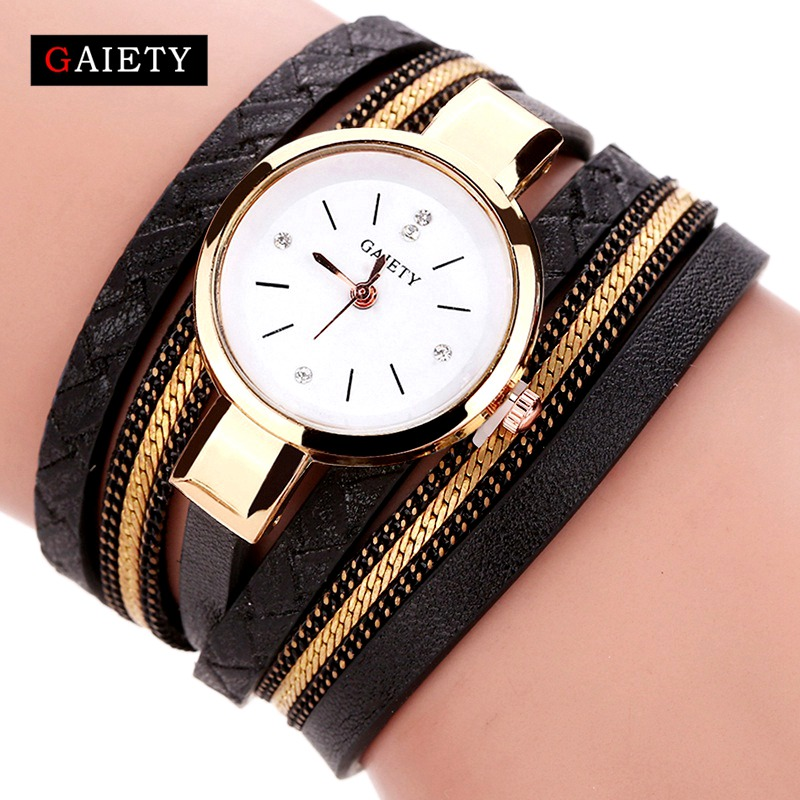 GAIETY Brand Luxury Gold Watches Women Fashion Bracelet Watch Ladies Leather Vintage Quartz Wristwatches Casual Clock 2017 New 2016 luxury brand ladies quartz fashion new geneva watches women dress wristwatches rose gold bracelet watch free shipping