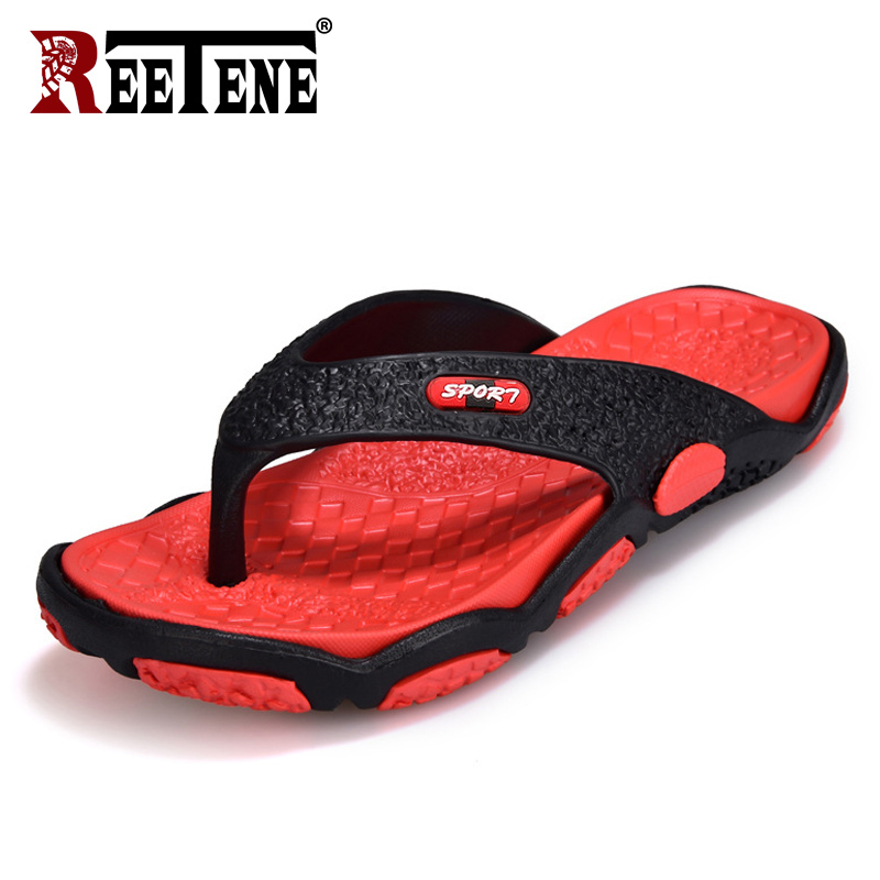 REETENE High Quality Men's Shoes For Male Slippers Plus Size 39-45 Fashion Summer Men Flip Flops Outdoor Soft Casual Shoes Men(China)