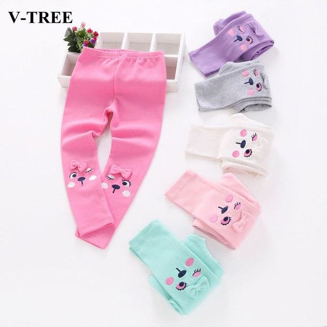 V-Tree хлопковые леггинсы для Обувь для девочек Детские штаны с мультипликационным принтом Карамельный цвет для девочек леггинсы детская одежда