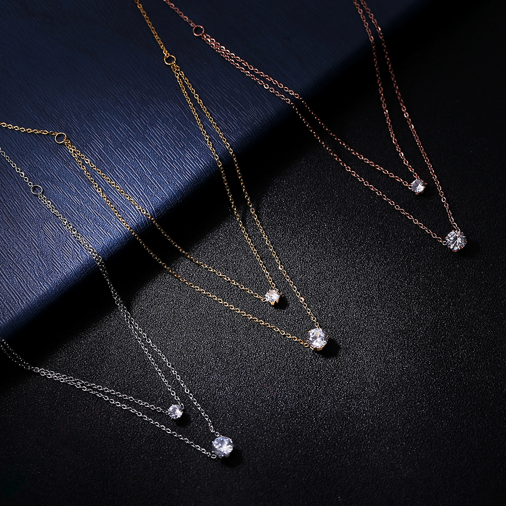 Christmas Gift Collar Choker CZ Circle Double Big Zircon 316L Stainless Steel Pendant Necklaces for Women jewelry Collier