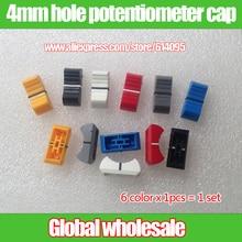 6 шт. отверстие 4 мм аудио Регулировка громкости миксер фейдер шапки/освещение консоли потенциометра фейдер крышка железная ручка пластиковая ручка