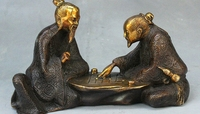 8 Old China Palace Bronze Gilt Wealth 2 Coin Robe Old Man Play Chess GO Statue