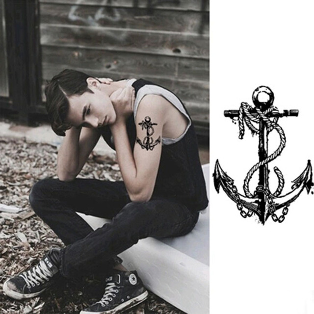 Temporary Tattoo Men Waterproof Shoulder Man Large Boat Anchor Tattoo Arm Sticker Fake Arm Sleeve Body Tattoo