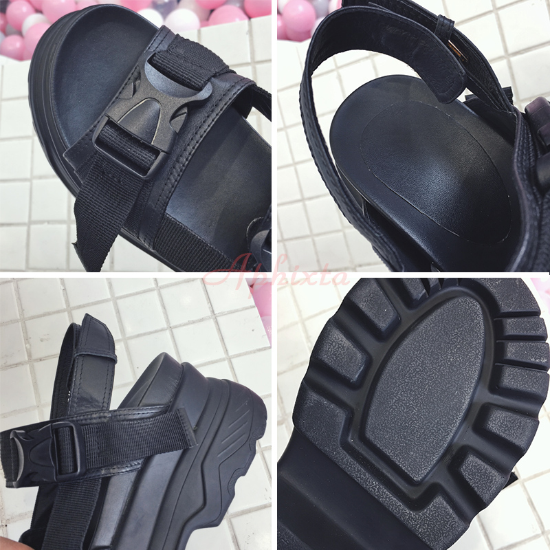 Aphixta 8cm Platform Sandals Women Wedge High Heels Shoes Women Buckle Leather Canvas Summer Zapatos Mujer Slippers Woman Sandal