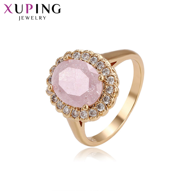 Xuping Fashion Ring With Environmental Copper Pink Ice Stone Jewelry for Women C