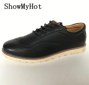 Nowy biznes męskie modne buty najwyższej jakości nowy marka PU skóra przystojni mężczyźni na co dzień projektowe wygodne oksfordzie buty wsuwane tanie i dobre opinie Dla dorosłych Przypadkowi buty Stałe Lace-up Gumowe Pasuje prawda na wymiar weź swój normalny rozmiar Syntetyczny ShowMyHot