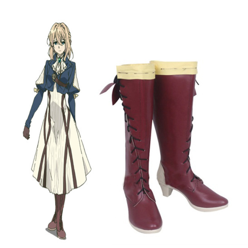 Anime Violet Evergarden Cosplay Shoes Boots Halloween Party  Women Cosplay Costumes Daily Leisure Shoes